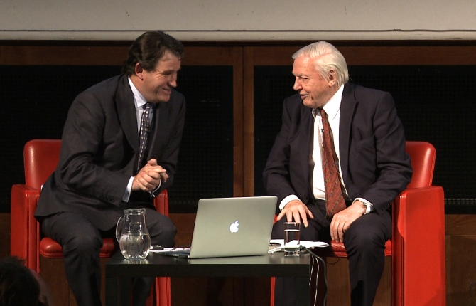 Alastair Fothergill and Sir David Attenborough on stage at the Royal Geographical society