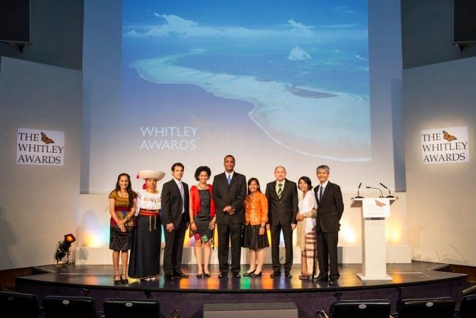 The 2014 Whitley Award winners, left to right, are; Shivani Bhalla (Kenya), Monica Gonzalez (Ecuador), Luis Torres (Cuba), Paula Kahumbu (Kenya), Jean Wiener (Haiti), Tess Gatan Balbas (Philippines), Stoycho Stoychev (Bulgaria), Fitry Pakiding (Indonesia), Melvin Gumal (Malaysia)