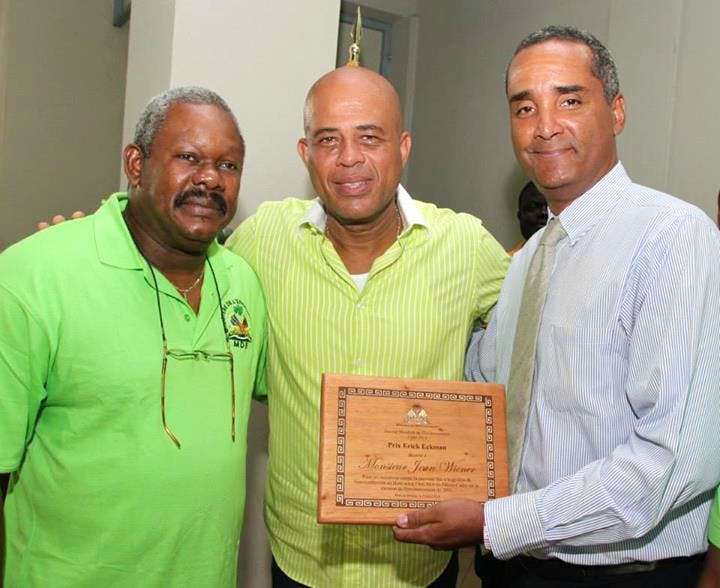 Minister of Environmnet Jean-Francois Thomas, HE President Michael Martelly, and FoProBiM Director, Jean Wiener
