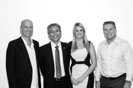 Melvin Gumal and Danni Parks (centre) with Jon Stryker (left) and Kevin Jennings (right) of the Arcus Foundation