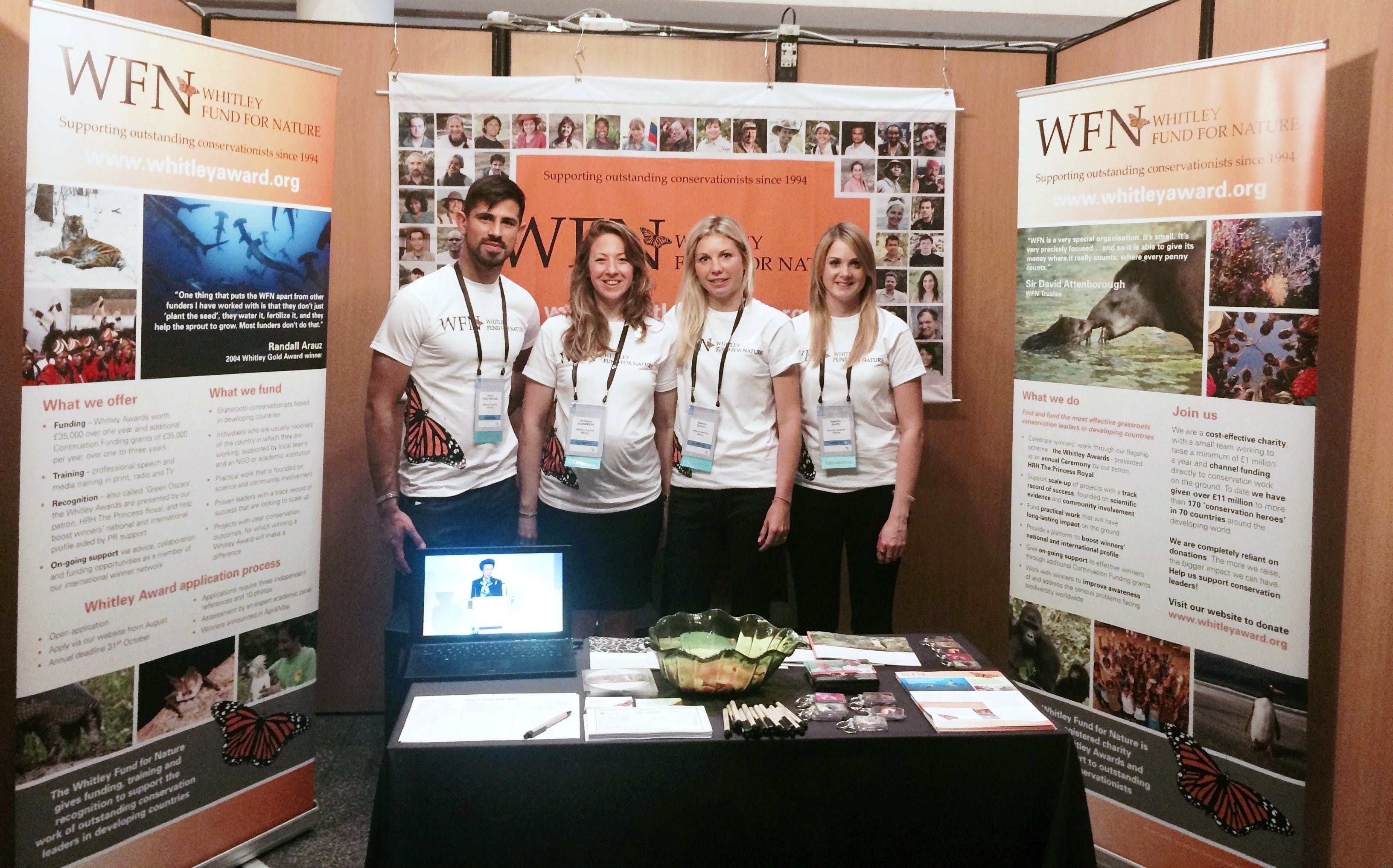 The WFN team (left to right: Harry, Georgina, Rebecca and Danni) in the WFN booth at the ICCB