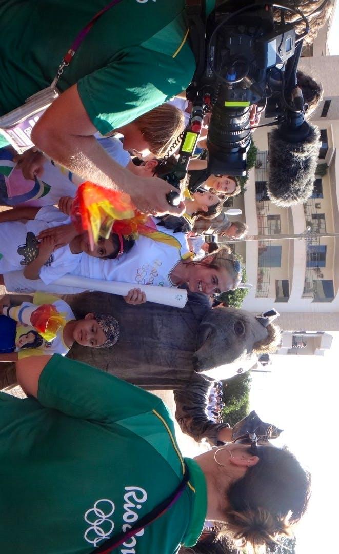 'Antonio' the tapir & Pati Medici with the Olympic torch
